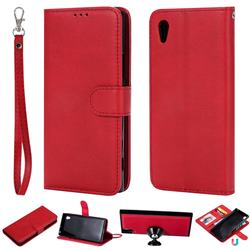 Retro Greek Detachable Magnetic PU Leather Wallet Phone Case for Sony Xperia XA1 - Red
