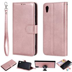 Retro Greek Detachable Magnetic PU Leather Wallet Phone Case for Sony Xperia XA1 - Rose Gold