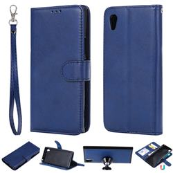 Retro Greek Detachable Magnetic PU Leather Wallet Phone Case for Sony Xperia XA1 - Blue