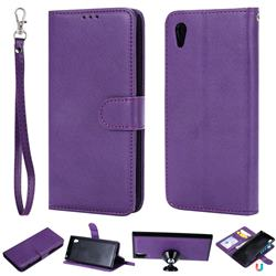 Retro Greek Detachable Magnetic PU Leather Wallet Phone Case for Sony Xperia XA1 - Purple