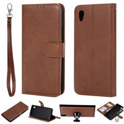 Retro Greek Detachable Magnetic PU Leather Wallet Phone Case for Sony Xperia XA1 - Brown