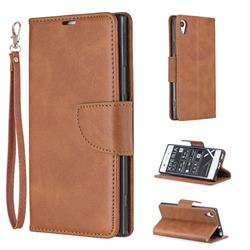 Classic Sheepskin PU Leather Phone Wallet Case for Sony Xperia XA1 - Brown