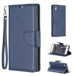 Classic Sheepskin PU Leather Phone Wallet Case for Sony Xperia XA1 - Blue