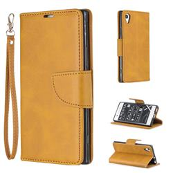 Classic Sheepskin PU Leather Phone Wallet Case for Sony Xperia XA1 - Yellow