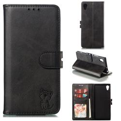 Embossing Happy Cat Leather Wallet Case for Sony Xperia XA1 - Black