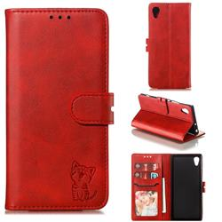 Embossing Happy Cat Leather Wallet Case for Sony Xperia XA1 - Red