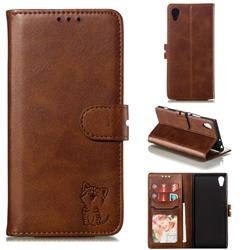 Embossing Happy Cat Leather Wallet Case for Sony Xperia XA1 - Brown