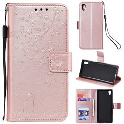 Embossing Cherry Blossom Cat Leather Wallet Case for Sony Xperia XA1 - Rose Gold