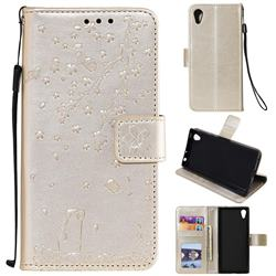Embossing Cherry Blossom Cat Leather Wallet Case for Sony Xperia XA1 - Golden