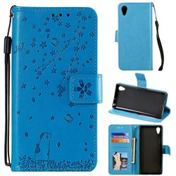 Embossing Cherry Blossom Cat Leather Wallet Case for Sony Xperia XA1 - Blue