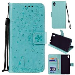 Embossing Cherry Blossom Cat Leather Wallet Case for Sony Xperia XA1 - Green