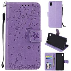 Embossing Cherry Blossom Cat Leather Wallet Case for Sony Xperia XA1 - Purple