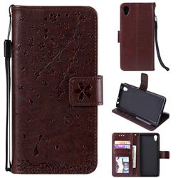 Embossing Cherry Blossom Cat Leather Wallet Case for Sony Xperia XA1 - Brown