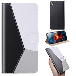 Tricolour Stitching Wallet Flip Cover for Sony Xperia XA1 - Black