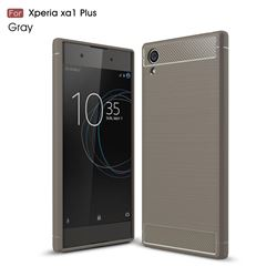 Luxury Carbon Fiber Brushed Wire Drawing Silicone TPU Back Cover for Sony Xperia XA1 Plus (Gray)