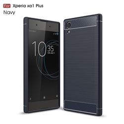 Luxury Carbon Fiber Brushed Wire Drawing Silicone TPU Back Cover for Sony Xperia XA1 Plus (Navy)