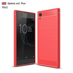 Luxury Carbon Fiber Brushed Wire Drawing Silicone TPU Back Cover for Sony Xperia XA1 Plus (Red)