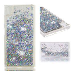 Dynamic Liquid Glitter Quicksand Sequins TPU Phone Case for Sony Xperia XA1 Plus - Silver