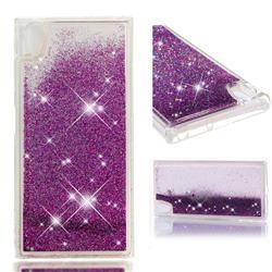 Dynamic Liquid Glitter Quicksand Sequins TPU Phone Case for Sony Xperia XA1 Plus - Purple