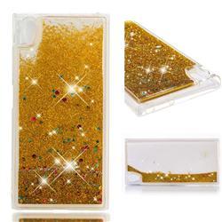 Dynamic Liquid Glitter Quicksand Sequins TPU Phone Case for Sony Xperia XA1 Plus - Golden