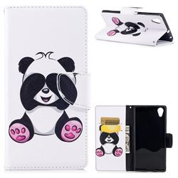 Lovely Panda Leather Wallet Case for Sony Xperia XA1 Plus