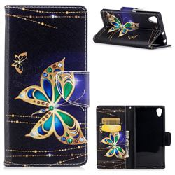 Golden Shining Butterfly Leather Wallet Case for Sony Xperia XA1 Plus