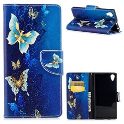 Golden Butterflies Leather Wallet Case for Sony Xperia XA1 Plus