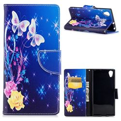 Yellow Flower Butterfly Leather Wallet Case for Sony Xperia XA1 Plus