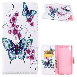 Peach Butterflies Leather Wallet Case for Sony Xperia XA1 Plus