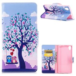 Tree and Owls Leather Wallet Case for Sony Xperia XA1 Plus