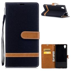 Jeans Cowboy Denim Leather Wallet Case for Sony Xperia XA1 Plus - Black