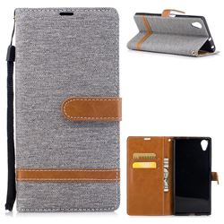 Jeans Cowboy Denim Leather Wallet Case for Sony Xperia XA1 Plus - Gray