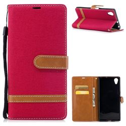 Jeans Cowboy Denim Leather Wallet Case for Sony Xperia XA1 Plus - Red