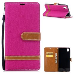 Jeans Cowboy Denim Leather Wallet Case for Sony Xperia XA1 Plus - Rose