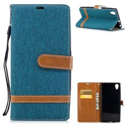 Jeans Cowboy Denim Leather Wallet Case for Sony Xperia XA1 Plus - Green