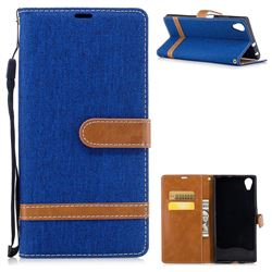 Jeans Cowboy Denim Leather Wallet Case for Sony Xperia XA1 Plus - Sapphire