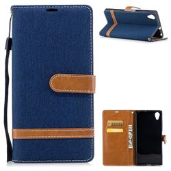 Jeans Cowboy Denim Leather Wallet Case for Sony Xperia XA1 Plus - Dark Blue