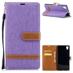 Jeans Cowboy Denim Leather Wallet Case for Sony Xperia XA1 Plus - Purple