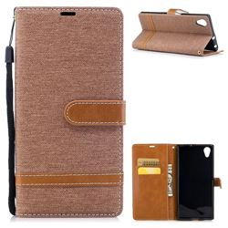 Jeans Cowboy Denim Leather Wallet Case for Sony Xperia XA1 Plus - Brown