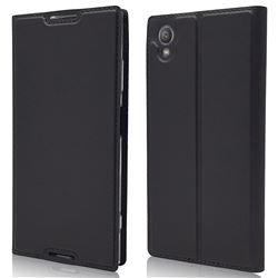 Ultra Slim Card Magnetic Automatic Suction Leather Wallet Case for Sony Xperia XA1 Plus - Star Grey