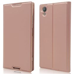 Ultra Slim Card Magnetic Automatic Suction Leather Wallet Case for Sony Xperia XA1 Plus - Rose Gold