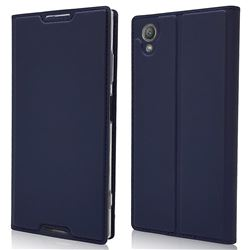 Ultra Slim Card Magnetic Automatic Suction Leather Wallet Case for Sony Xperia XA1 Plus - Royal Blue