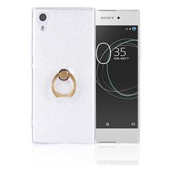 Luxury Soft TPU Glitter Back Ring Cover with 360 Rotate Finger Holder Buckle for Sony Xperia XA1 Ultra - White
