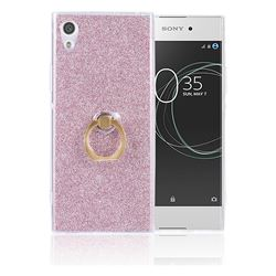 Luxury Soft TPU Glitter Back Ring Cover with 360 Rotate Finger Holder Buckle for Sony Xperia XA1 Ultra - Pink