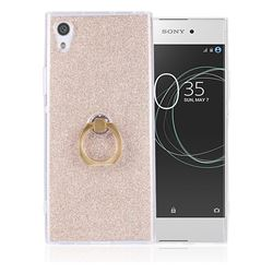 Luxury Soft TPU Glitter Back Ring Cover with 360 Rotate Finger Holder Buckle for Sony Xperia XA1 Ultra - Golden