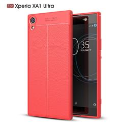 Luxury Auto Focus Litchi Texture Silicone TPU Back Cover for Sony Xperia XA1 Ultra - Red
