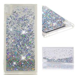 Dynamic Liquid Glitter Quicksand Sequins TPU Phone Case for Sony Xperia XA1 Ultra - Silver
