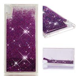 Dynamic Liquid Glitter Quicksand Sequins TPU Phone Case for Sony Xperia XA1 Ultra - Purple