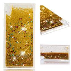 Dynamic Liquid Glitter Quicksand Sequins TPU Phone Case for Sony Xperia XA1 Ultra - Golden