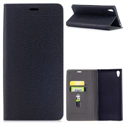 Tree Bark Pattern Automatic suction Leather Wallet Case for Sony Xperia XA1 Ultra - Black